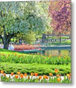 Swans And Tulips 1 Metal Print