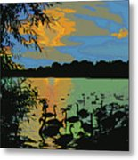 Swans At Sunset Metal Print