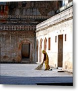 Sweeping Inside Of Amber Palace Metal Print