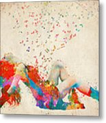 Sweet Jenny Bursting With Music Metal Print