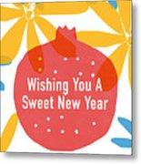 Sweet New Year Card- Art By Linda Woods Metal Print
