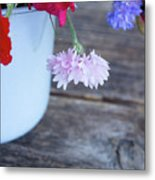 Sweet Pea And Corn Flowers Metal Print