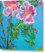 Sweet Pea Flowers On A Vine Metal Print