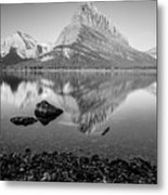 Swift Current Lake Reflection Black And White  Metal Print