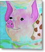 Swimming Piggy Metal Print