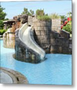 Swimming Pool With Slide For Children Metal Print
