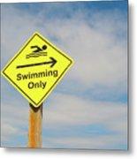 Swimming Sign Metal Print