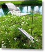 Swing In The Daisies With Bridge Metal Print
