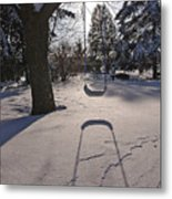 Swing Shadow On Snow Metal Print