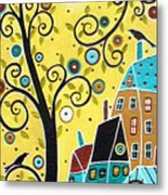Swirl Tree Two Birds And Houses Metal Print
