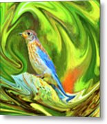 Swirling Bluebird Abstract Metal Print