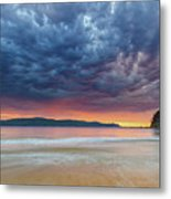 Swirling Cloudy Sunrise Seascape Metal Print