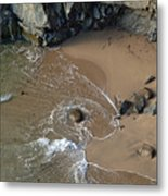Swirling Surf And Rocks Metal Print