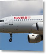 Swiss Airlines Airbus A320 Metal Print