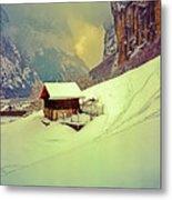 Switzerland Alps Grutschap Alpine Meadow Winter  Metal Print