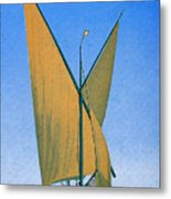 Switzerland, Lake Geneva, Montreux, Sailing Boat Metal Print