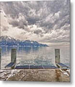 Switzerland, Montreux, Dock On The Lake. Metal Print