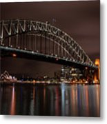 Sydney Harbor At Night With Train Metal Print