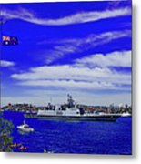 Sydney Harbour And Flying Flag Metal Print