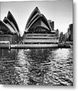 Sydney Opera House-black And White Metal Print
