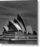 Sydney Opera House Print Image In Black And White Metal Print