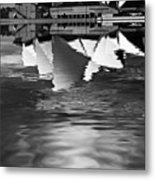 Sydney Opera House Reflection In Monochrome Metal Print