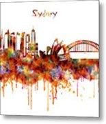 Sydney Watercolor Skyline Metal Print