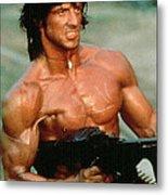 Sylvester Stallone And Browning Machine Gun Rambo 1985 Metal Print
