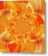 Symmetrical Abstract In Orange Metal Print
