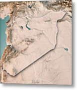 Syria Country 3d Render Topographic Map Neutral Border Metal Print