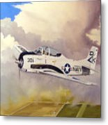 T-28 Over Iowa Metal Print