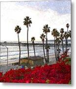 T-street View Of San Clemente Pier Metal Print