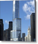 T Tower Chicago River Metal Print