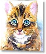 Tabby Kitten Watercolor Metal Print