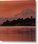 Tacoma Bay Mount Rainier Sunrise Metal Print