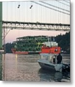 Tacoma Narrows Bridge With Patrol Boat In Foreground Metal Print