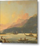 Tahitian War Galleys In Matavai Bay Metal Print