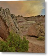 Tail End Of Storm At Sunset Over Bentonite Site Metal Print