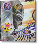 Taino Mask And Symbols Metal Print