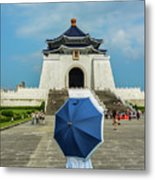 Taipei Lady Umbrella Metal Print