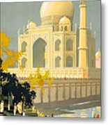 Taj Mahal Visit India Vintage Travel Poster Restored Metal Print