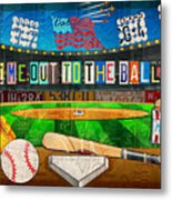 Take Me Out To The Ballgame Recycled Vintage License Plate Art Collage Metal Print