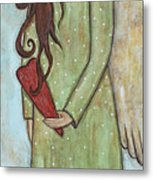 Tall Angel With Heart Metal Print
