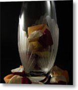 Tall Crystal Vase With Rose Petals Metal Print