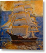Tall Ship In The Sunset Metal Print