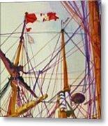 Tall Ship Lines Metal Print