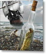 Tall Ship Message In A Bottle Metal Print