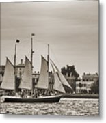 Tall Ship Schooner Pride Off The Historic Charleston Battery Metal Print by Dustin K Ryan