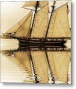Tall Ship Sepia  Metal Print