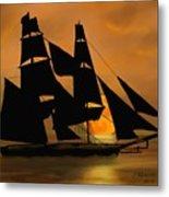 Tall Ship With A Harvest Moon Metal Print